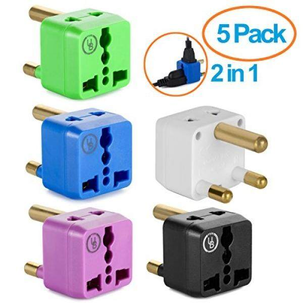 Surge Protectors South Africa Adapter by Yubi Power 2 in 1 Universal Travel Adapter with 2 Universal Outlets - 5 Pack - Black White Blue Purple Green - Type M for South Africa, Lesotho, Mozambique, Nepal and more! - intl