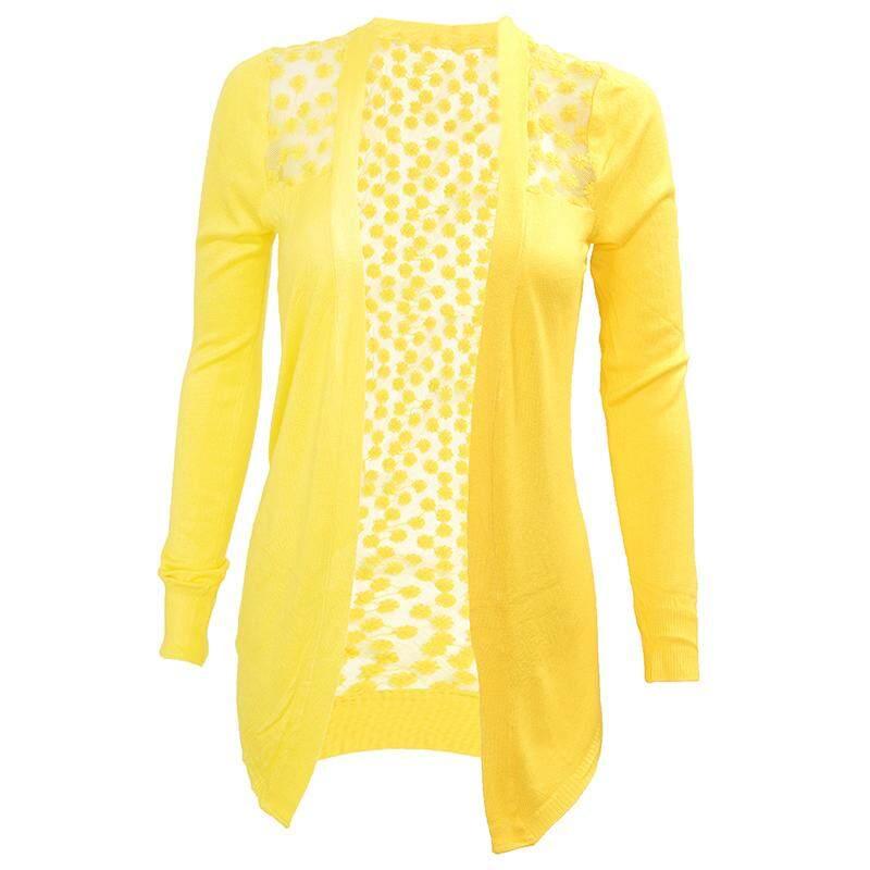 Wanita Renda Permen Manis Crochet Atasan Rajut Sweater Kemeja Kardigan Lengan Panjang Kuning Satu Ukuran-