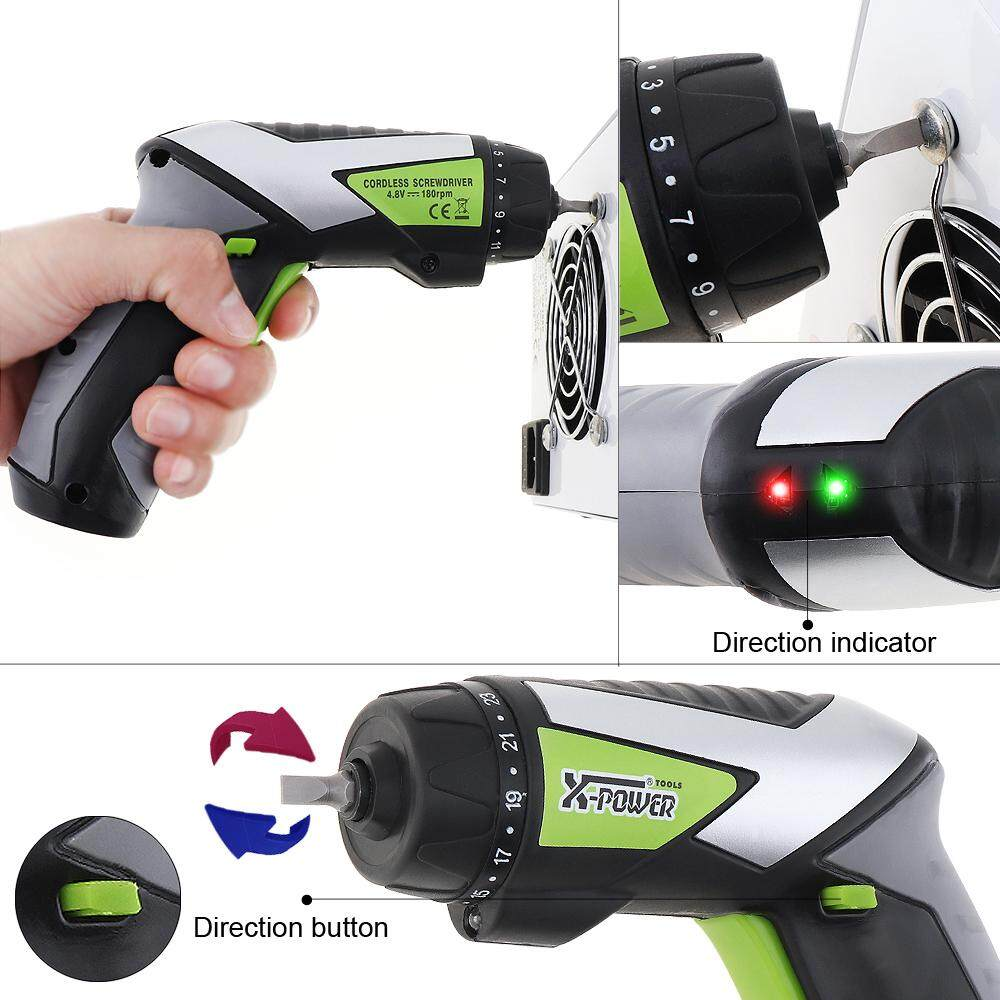 AC 220V Cordless 4.8V Handle Rechargeable Electric Screwdriver with 23 Torque Setting and Working Light for Household Maintenance
