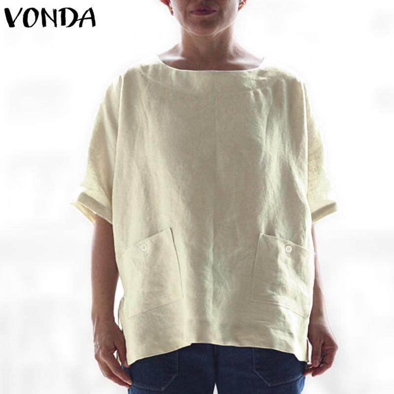 ad2f4a7ac950f VONDA Summer Maternity Cotton Blouse T-shirt Dress