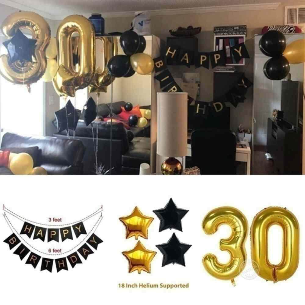 Hình ảnh Airforce 23pcs/set 40inch Rose Gold Number Foil Balloons White Confetti Latex Balloons Birthday Party Decorations Supplies