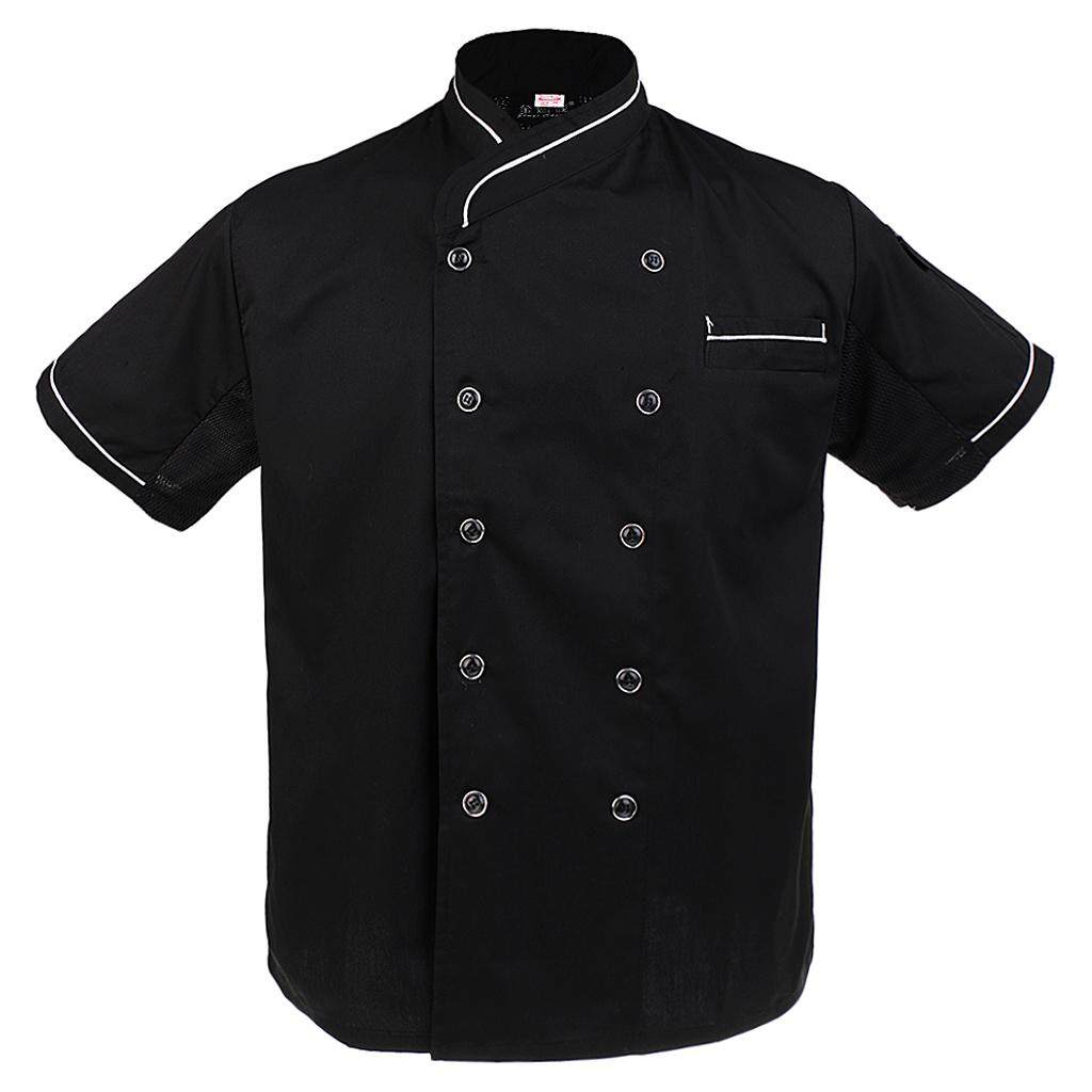 Magideal Unisex Chef Jackets Waiter Coat Short Sleeves Chef Uniforms Back Mesh 2xl White By Magideal
