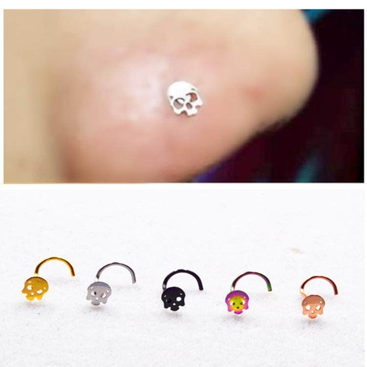 ❤SKute 1 Piece Surgical Steel Nose Ring Cute Skull Nose Pin Hoop Earring Punk Body