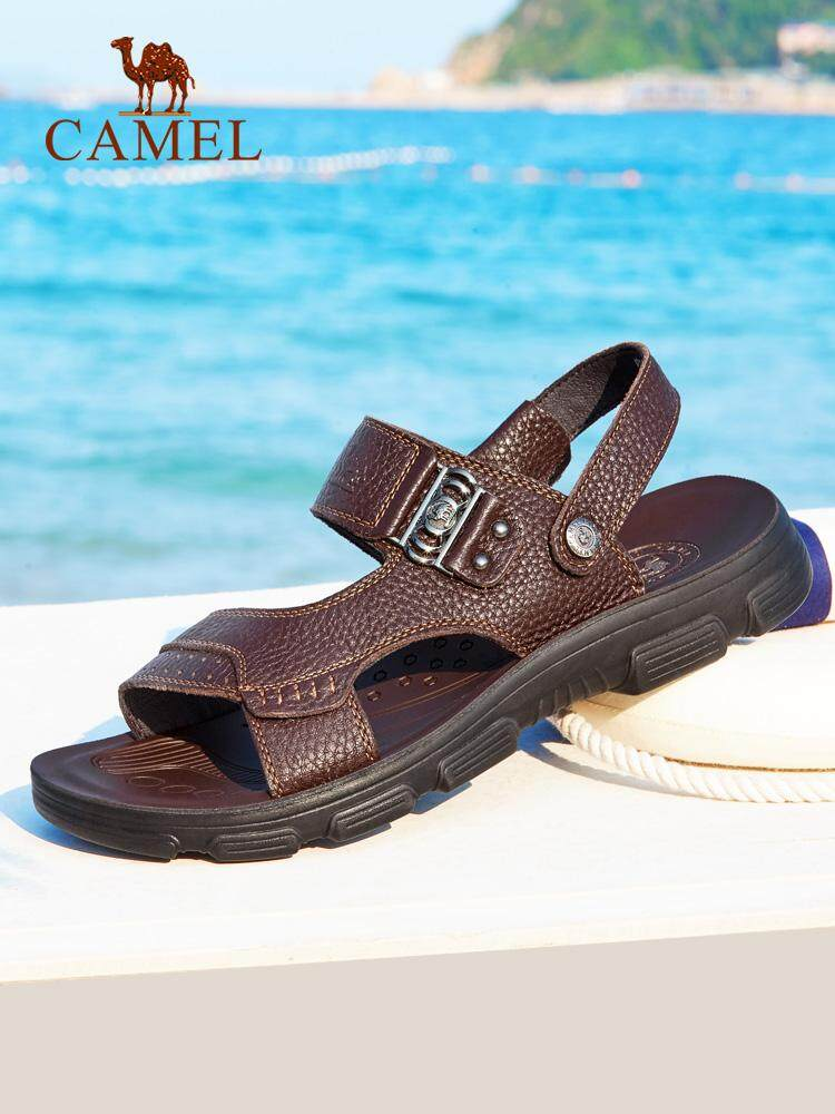 4ec4ad37ba2 Camel men s sandals 2018 summer new men s leather sandals casual sandals  and slippers leather breathable beach