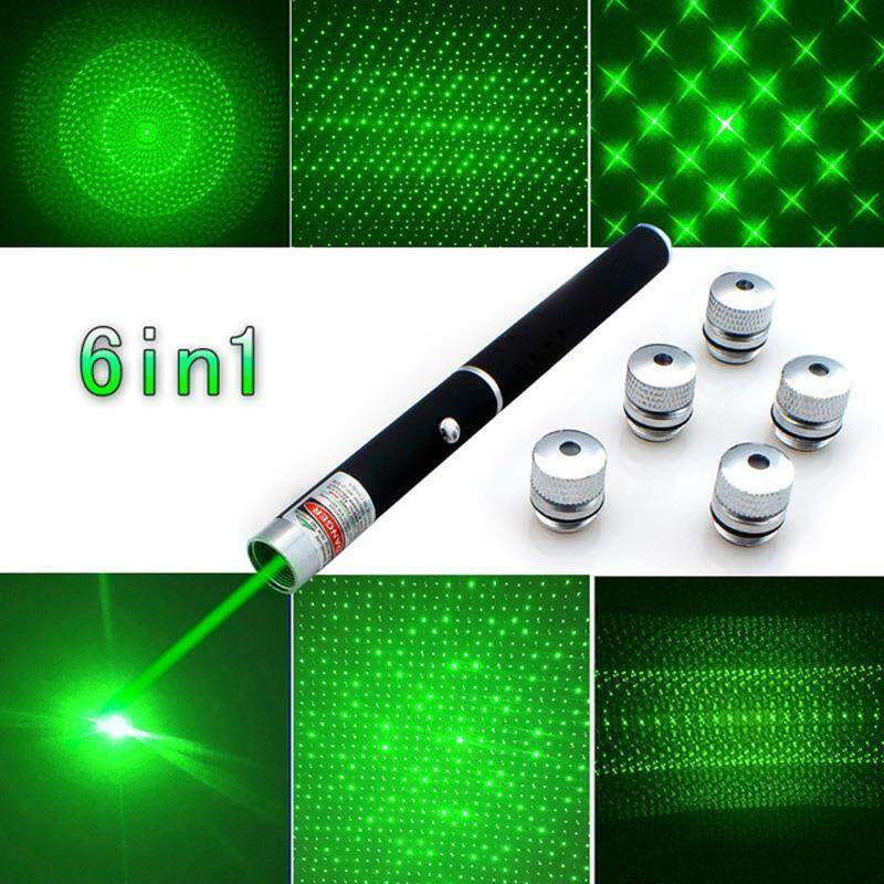 Powerful 6in1 5mw 532nm 650nm Green/Red  Laser Pointer Pen With Gift Box
