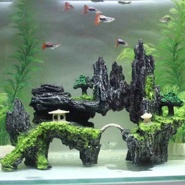 [[Sẵn Sàng Cổ]] Trang Trí Bể Cá Nhựa Rockery Đá Cá Cảnh Quan Trang Trí Bể Cá Rockery Núi Ẩn Động Vật Nuôi Thú Cưng