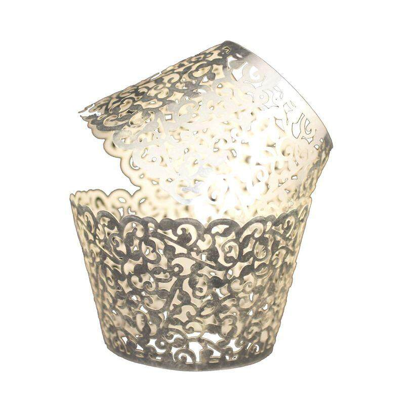 Vine Cupcake Holders Filigree Vine Designed Decor Wrapper Wraps Cupcake Muffin Paper Holders - 50pcs (bright Silver ) By Fastour.