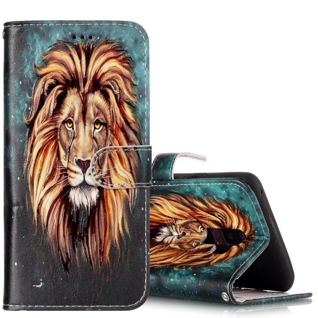 For Samsung Galaxy S9+ Gloss Oil Embossed Lion Pattern Horizontal Flip Leather Case with Holder & Card Slots & Wallet - intl