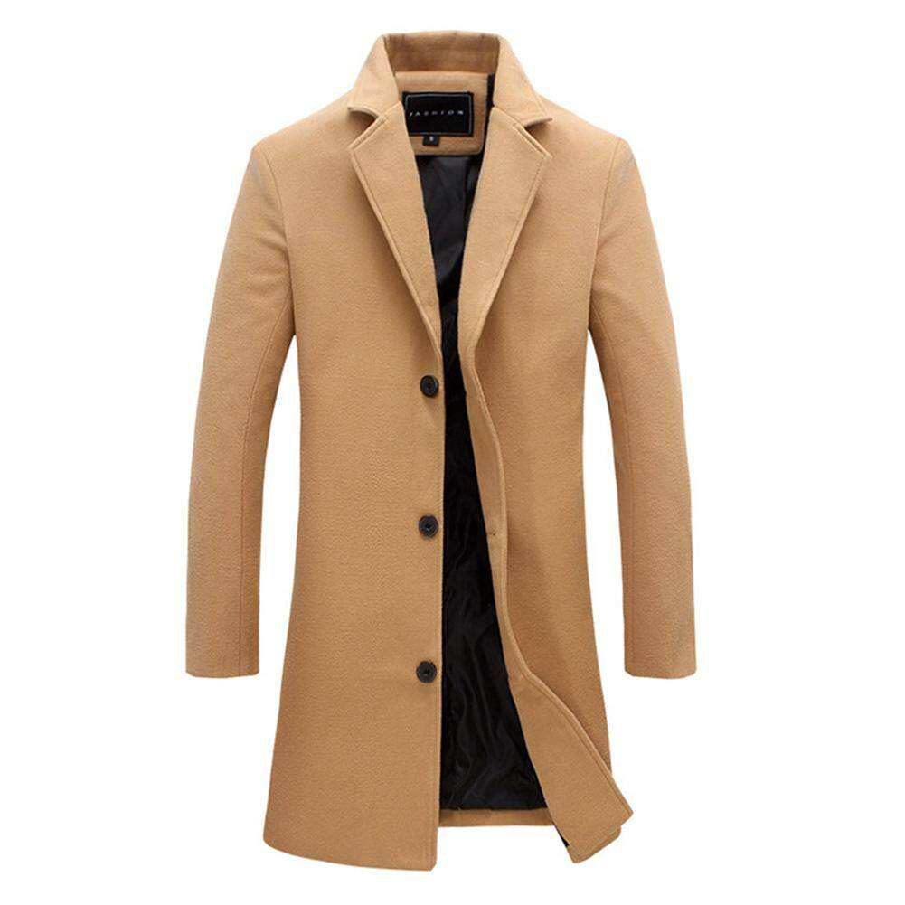 RD Fashion Winter Men's Solid Color Trench Coat Warm Long Jacket Single Breasted Overcoat