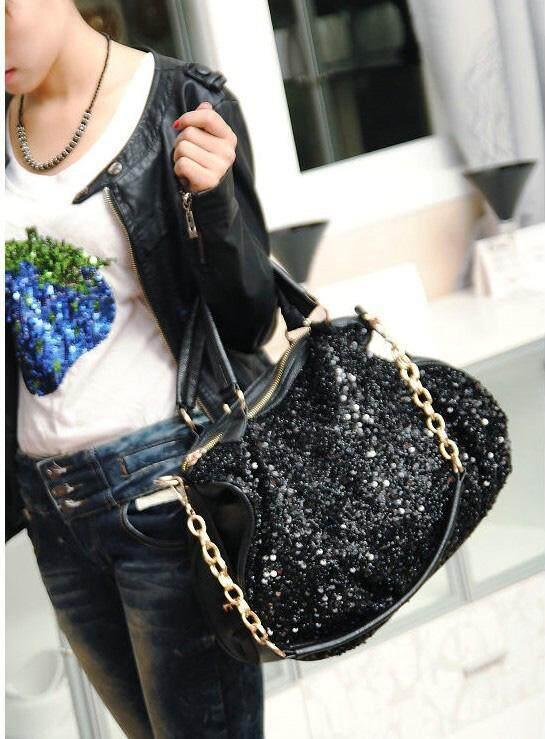 ... New fashion ladies shiny PU leather handbag black sequins Ladies Shoulder  Tote Messenger Bag Purse Satchel b99d881a77