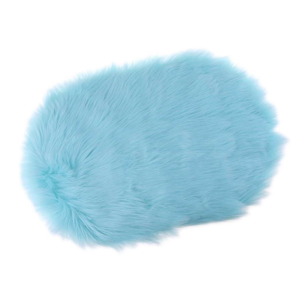 BolehDeals Sheepskin Fluffy Skin Faux Fur Rug Mat Small Rugs 40x60cm Lake Blue