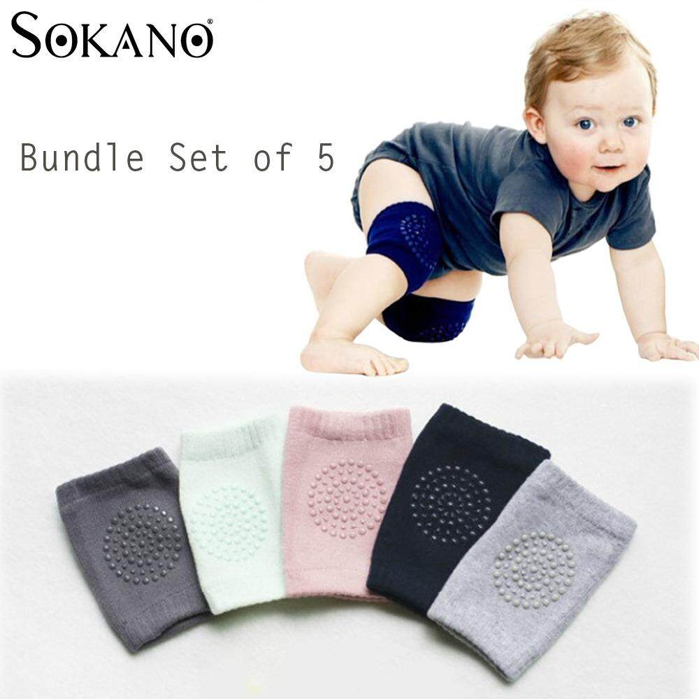 BUNDLE Set of 5: SOKANO Baby Safety Knee Protector Pad Kids Socks