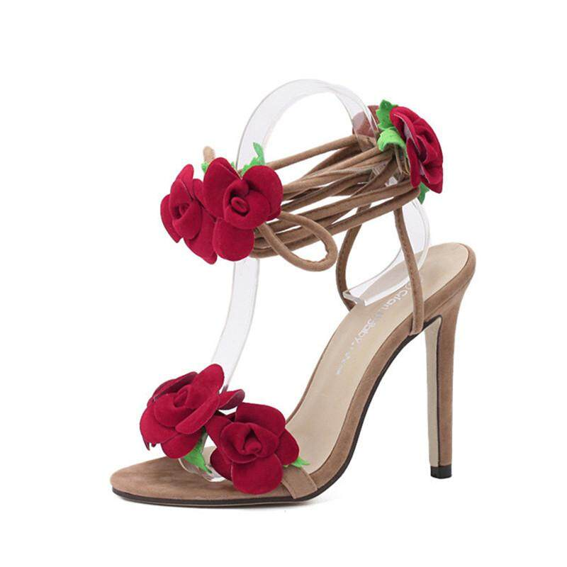 213756ca112 NEW Fringe Gladiator Tassel Sandals Women Lace-up Sexy Red Rose Flower High  Heels Women