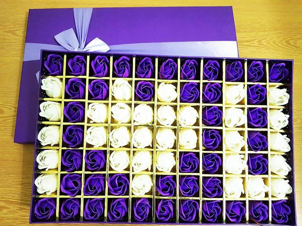I Love You Purple Rose Gift Box With LED