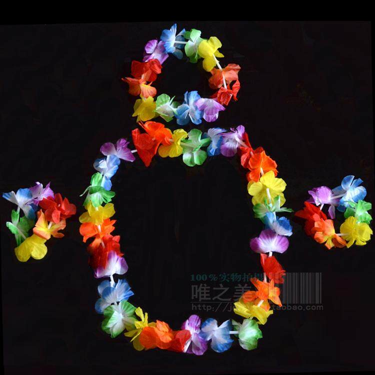 Magideal Hawaiian Luau Summer Beach Party Hula Fancy Dress Costume Grass Garland Wristbands And Headband Set By Magideal.