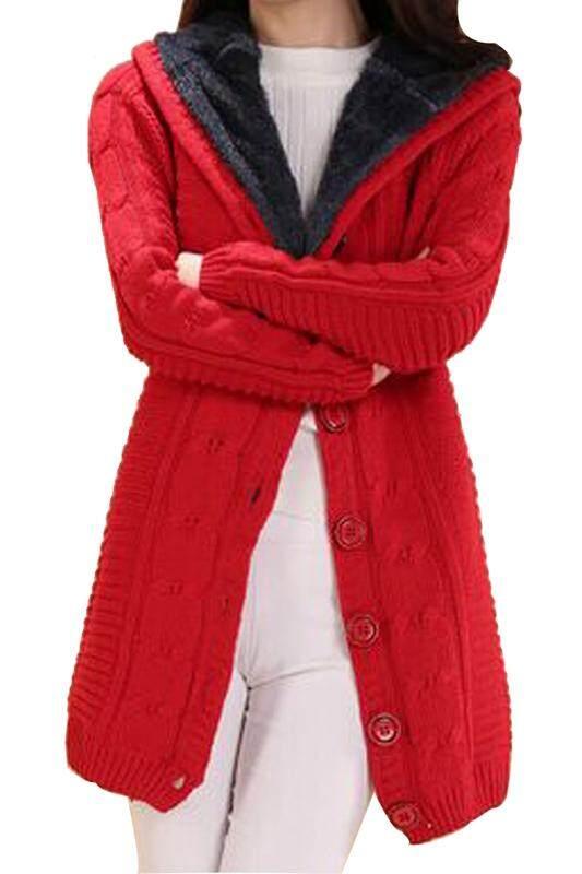Wanita Cardigan Hoodie Rajut Mid-Long Sweater Kaus Bertudung Jaket Merah-Intl