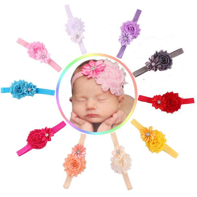 10pcs Baby Girl Elastic Multicolor Flower Headband Rhinestone Hair Band - intl