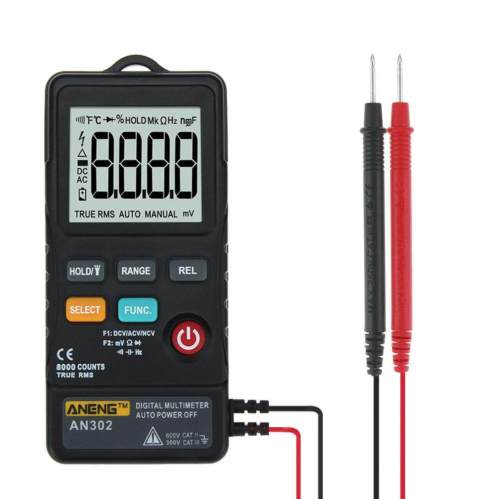 ANENG AN302 True RMS 8000 Counts Push-button Card Digital Multimeter AC/DC Tester Black/Red