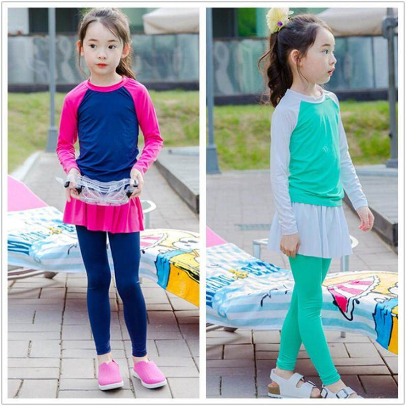 13dd97f238 Luoke 2pcs Kids Swimming Suit Muslimah Swimwear girl Conservative Swimwear  Swimsuits Japan and Korea style cute
