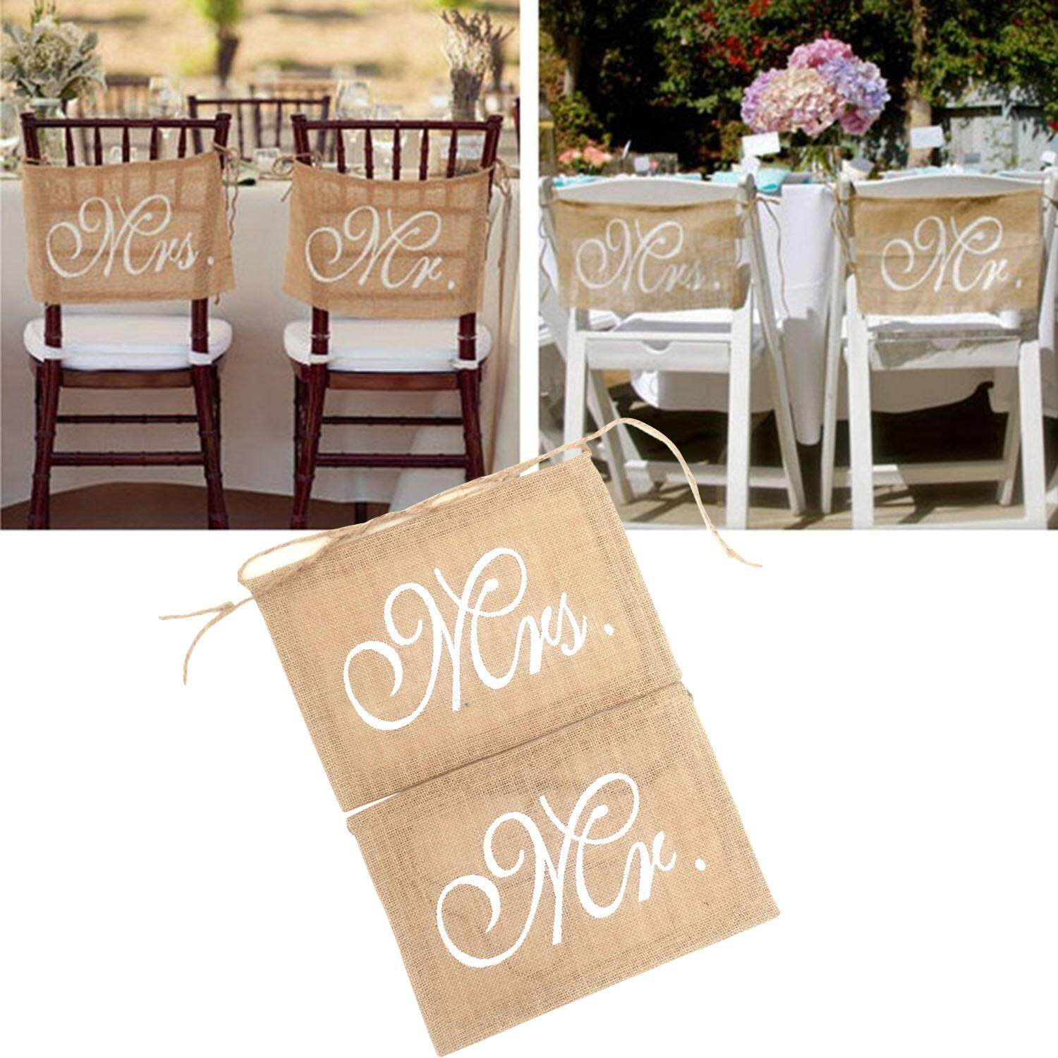 Buy sell cheapest retro rustic theme best quality product deals 1 pair mr and mrs vintage burlap chair banner chair sign garland rustic theme junglespirit Image collections