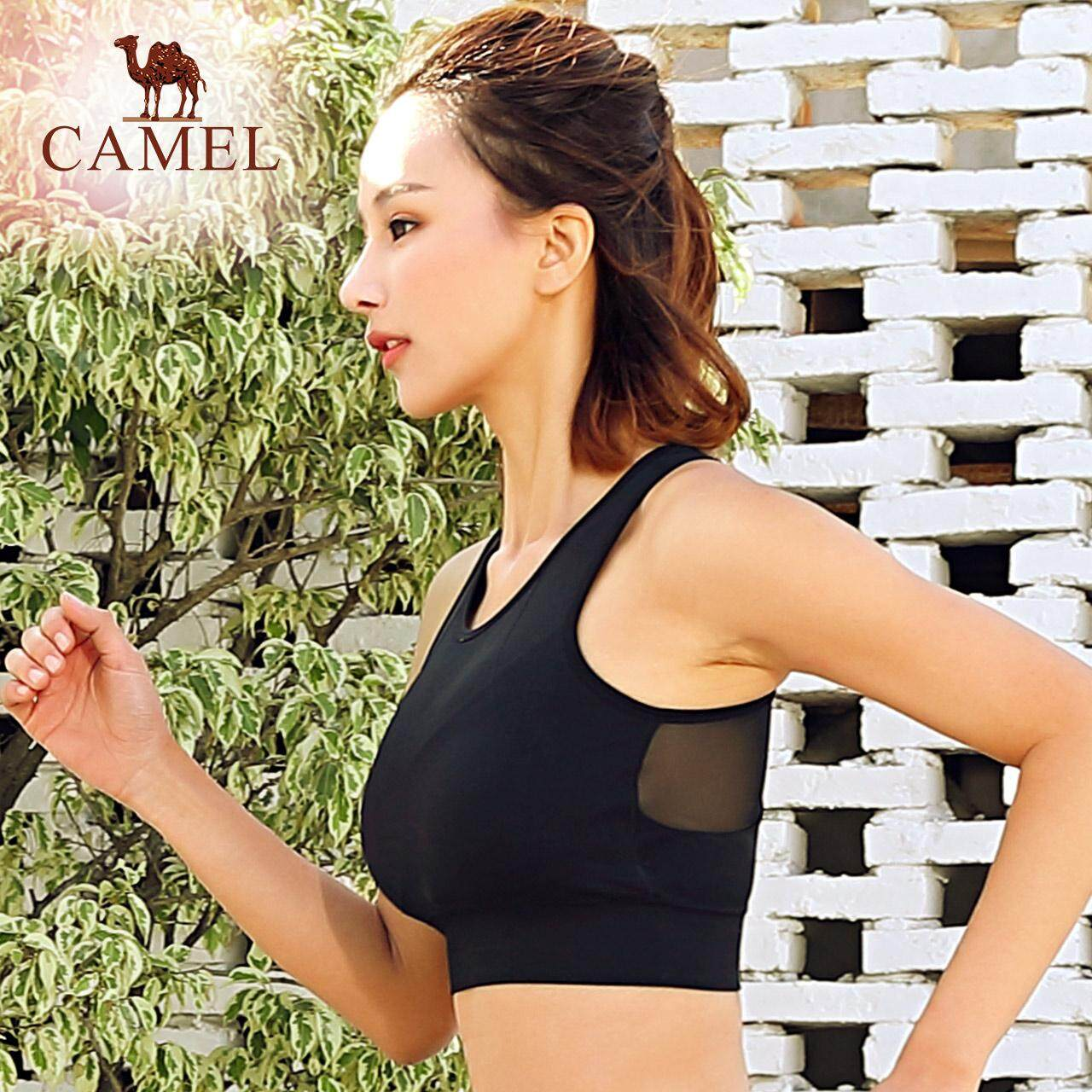cd21ed3ff7f72 Camel women Wireless sports bra seamless sweat absorb breathable yoga vest  quick drying push up Tops