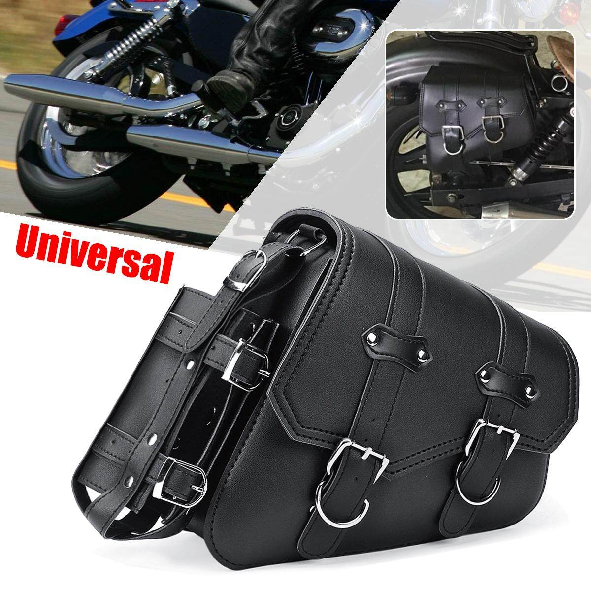1 Pcs Universal Motorcycle Saddle Bag Black Leather For Harley Sportster  04-UP RIGHT e96b1953f0