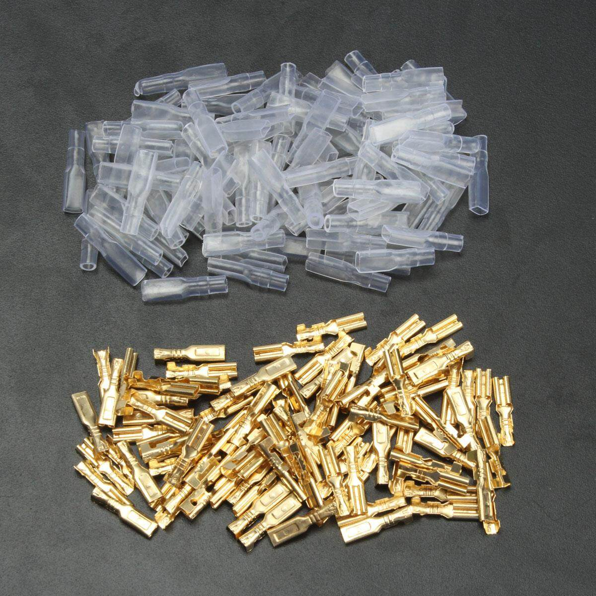 100pcs 2.8mm Copper Spade Crimp Connector Female Terminals 22~16awg 0.5mm Sleeve By Motorup.