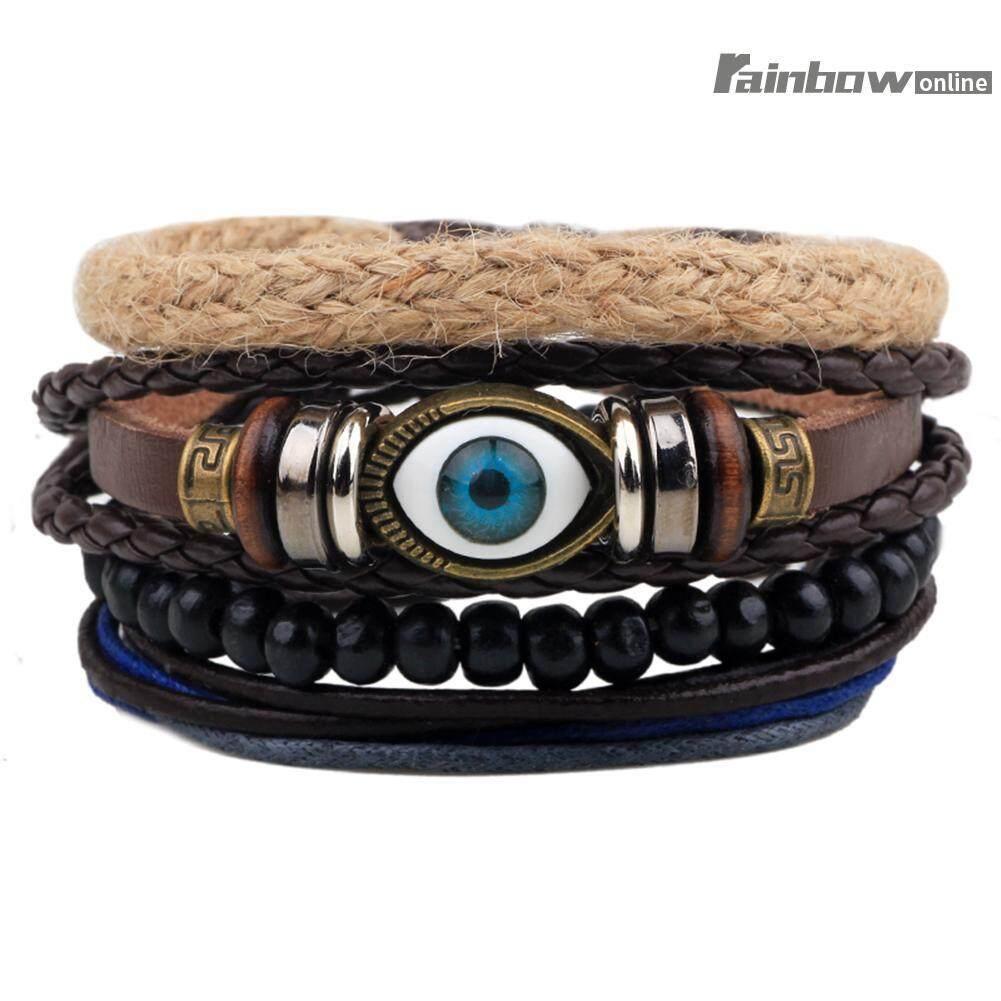Cool Retro Unisex Hemp Woven Bracelet Leather Wax Rope Beads Wristband (one Size) By Rainbowonline.