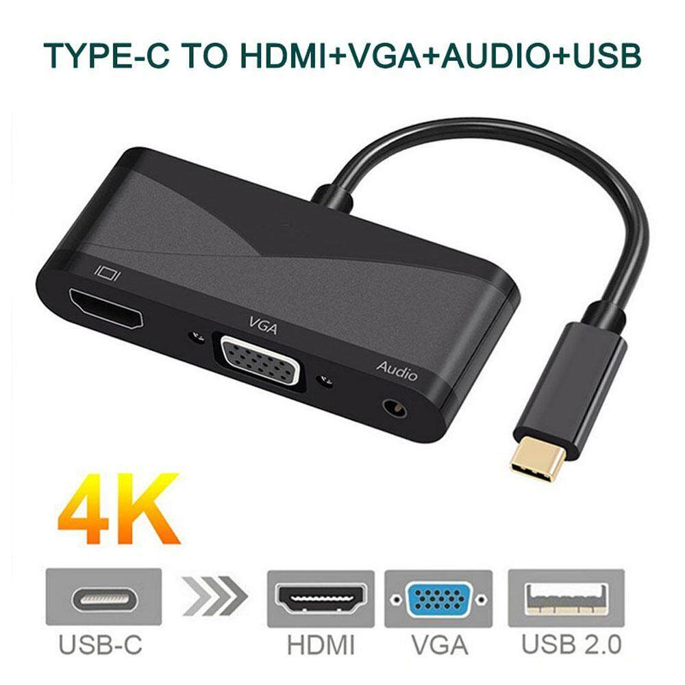 Eenten Multiple USB C Hub, Type USB-C to HDMI VGA Audio USB Multiport Adapter 4 in 1 Converter, Wide Use