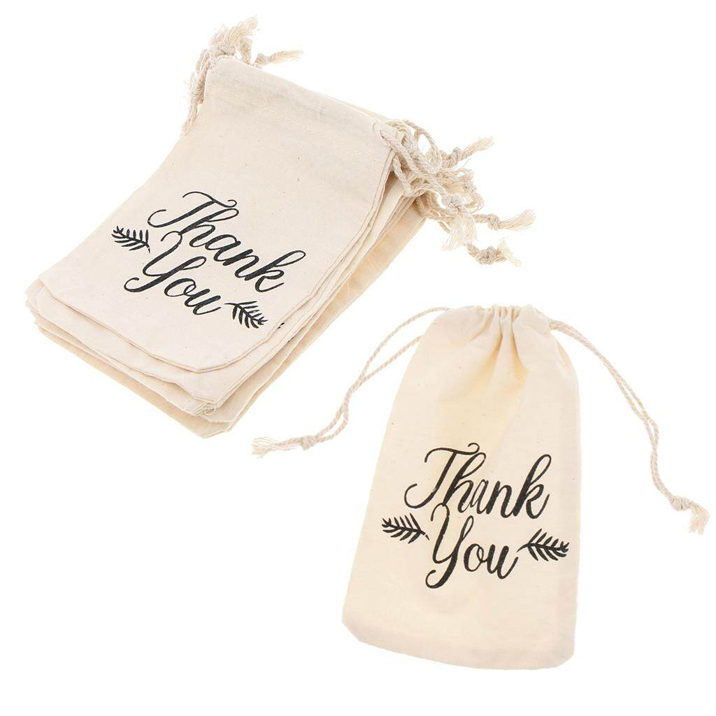BolehDeals 10pcs Thank you Unicorn Flamingo Cotton Linen Sack Jewelry Pouch Drawstring Bag Wedding Favor