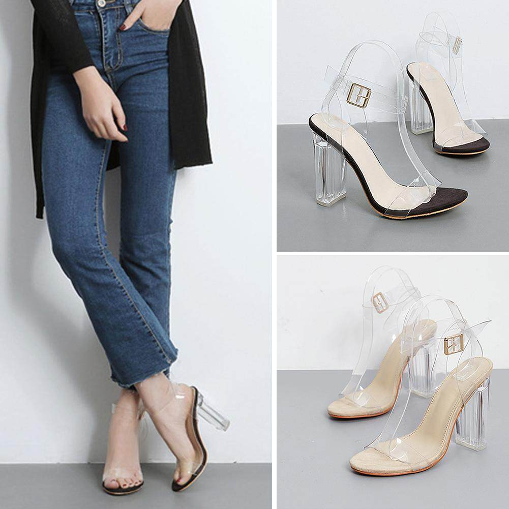Women Transparent Perspex Open Peep Toe Ankle Strap High Heels Party Club Sandals - intl
