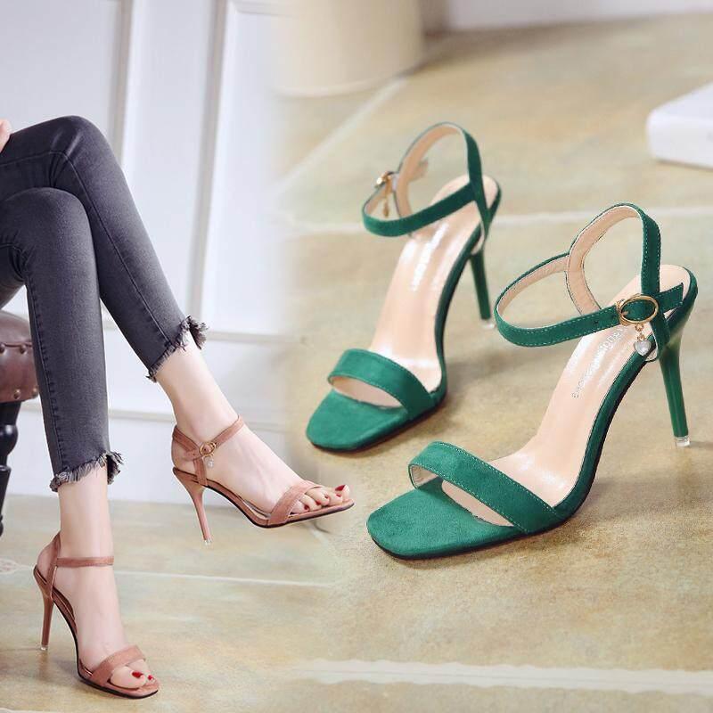 d9eee77e82 Open Toe Elegant Buckle Women's Sandals Solid PU Fashion High Heels Sandals  Women Cut-Outs Party Shoes Women Bling
