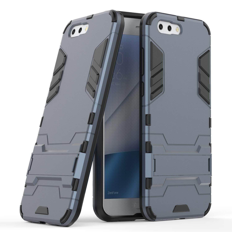 Case untuk Asus ZenFone 4 ZE554KL (5.5 Inch), [Tough Pelindung] Kasar Berkualitas Tinggi Tugas Tinggi Dampak Anti Guncangan Tahan Pelindung Case Tali Stent Pelindung Ramping Keras Case (Gelap Biru)