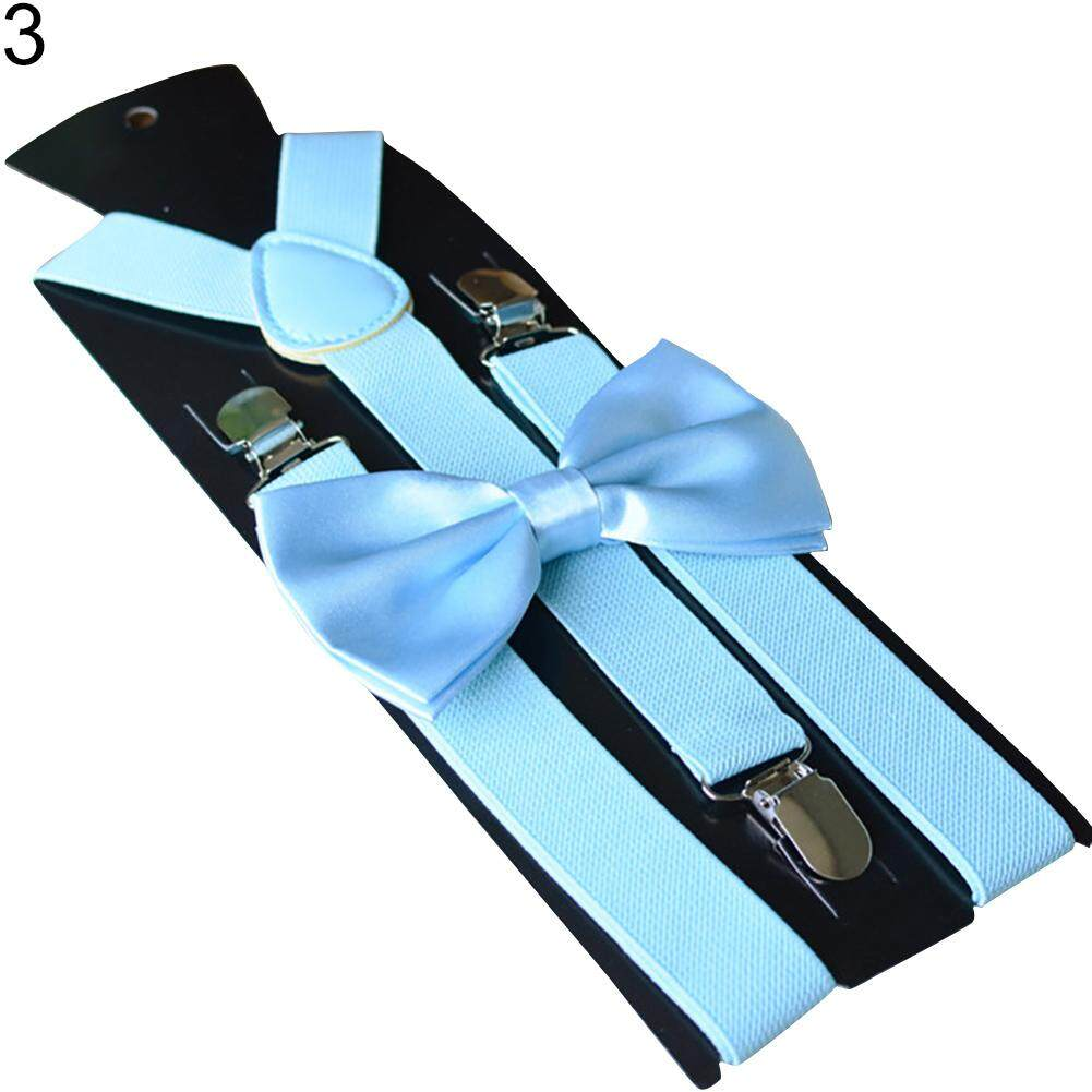 Windycat Solid Color Kids Adult Clip-On Elastic Y-Shape Adjustable Suspenders Bowtie Set By Windycat.
