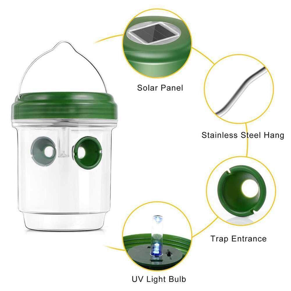 Hình ảnh YTRI Wasp Trap Catcher with Solar Powered Ultraviolet LED Light Effective and Reusable Traps for Wasps, Bees, Yellow Jacket - intl