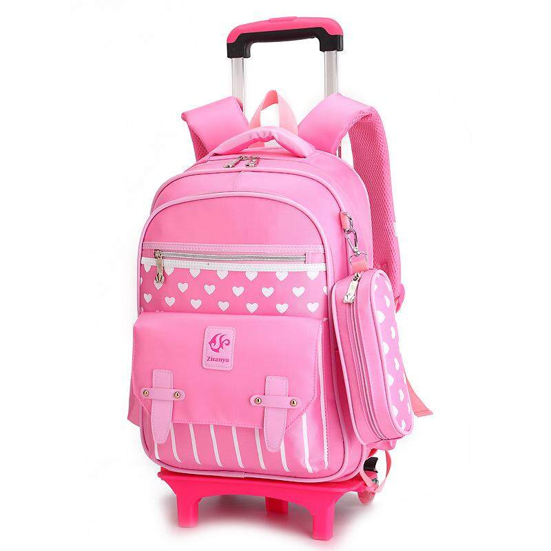 Student Trolley School Bag Childrens Removable Backpack MWT7
