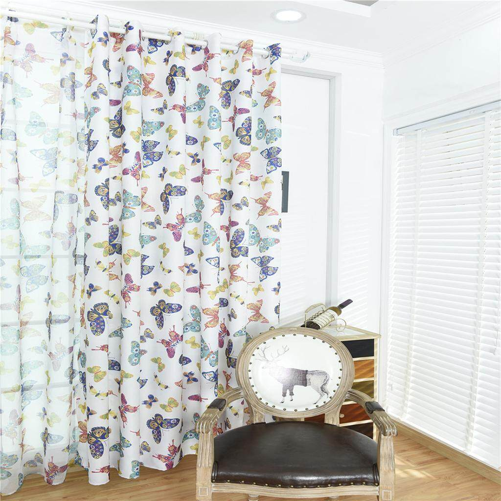 Fityle 100x250cm Door Window Curtain Eyelet Floral Room Drape Divider Butterfly