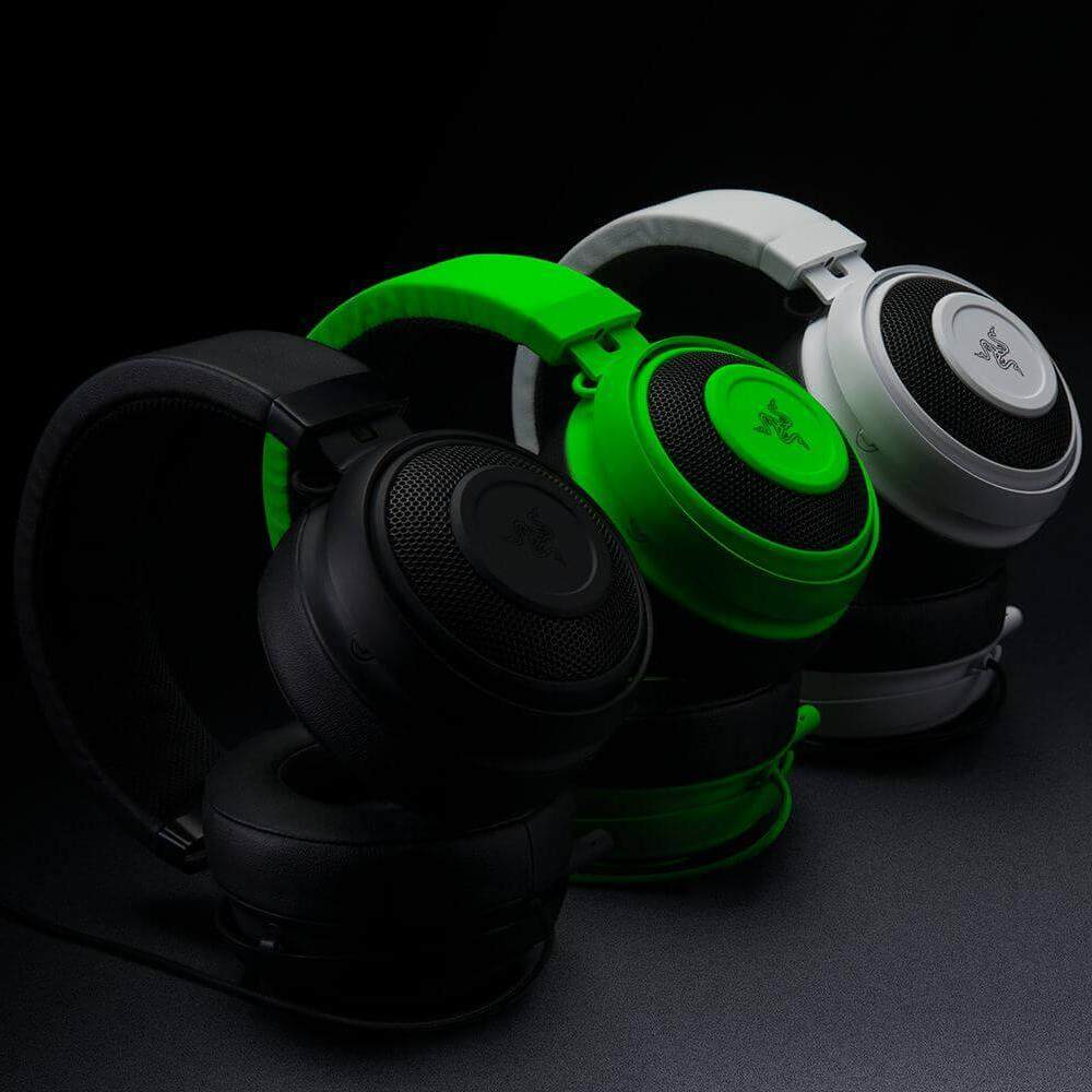Razer Original Kraken Pro V2 Over-ear Gaming Headset with In-line Control Retractable Mic 50mm Drivers 3.5mm Audio Jack ( Black / Green / White Version)