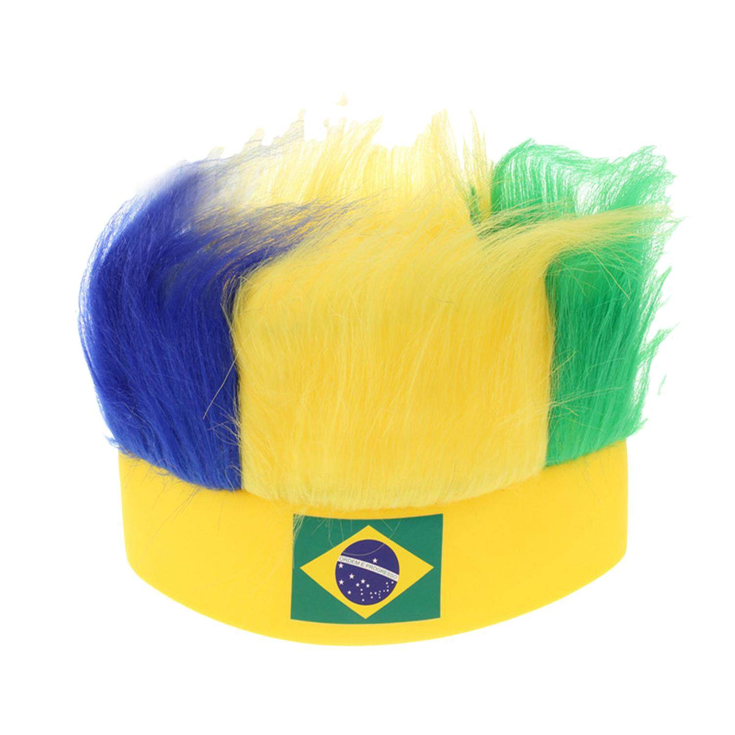 Novelty Cool 2018 World Cup Hair Wig Football Soccer Fans Hats Headband with National Flag Color Brazil - intl