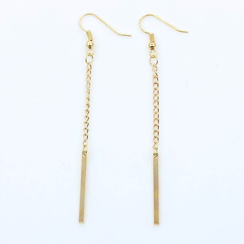 1 Pair Women Female Earrings Alloy Chain Pendant Ear Studs Jewelry Gift - intl