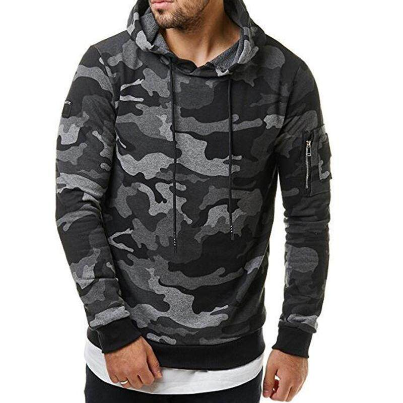 Men Fashionable Hoodie Cool Camouflage Sweater Casual Camo Pullover By Fashion Cabinet.