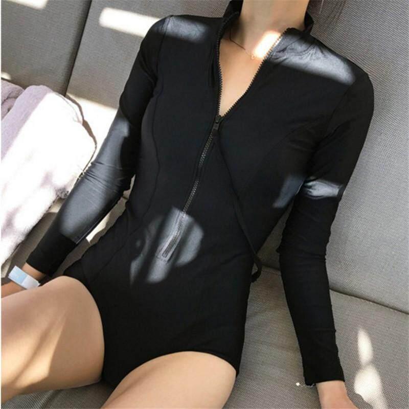 66a940d0717 Luoke One-piece Women Long Sleeves black Swimwear Bra Pad zipper Surfing  Bathing Suit Beachwear
