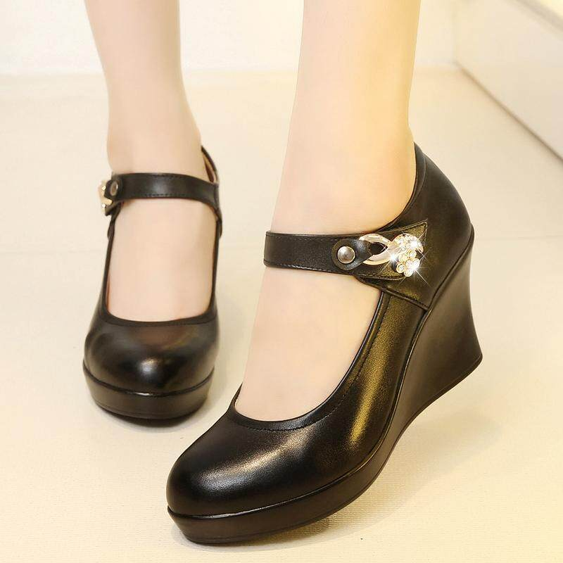 Detail Gambar Musim gugur setangah baya sepatu wanita Sepatu kulit teplek  Mama sepatu lapisan tunggal model bulat Kulit asli Sepatu kerja model  perempuan ... c503c28233