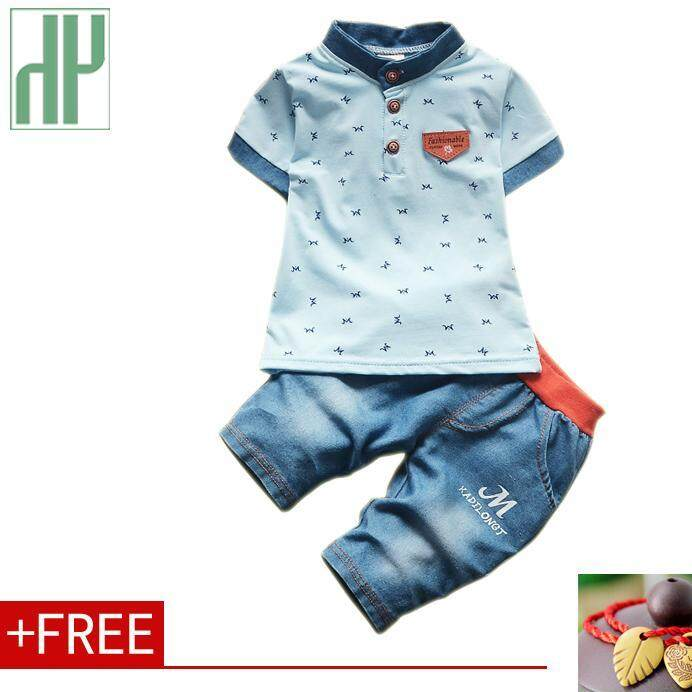 Children clothing gentleman summer baby boy clothes casual kids sport suits  short-sleeved t- f007573ba