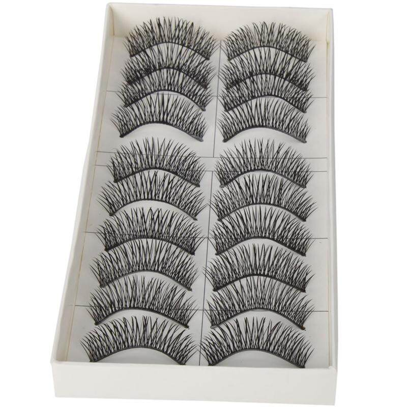 10 Pairs Black Long Thick Soft Reusable False Eyelashes Fake Eye Lash For Makeup Cosmetic By Sillyshuai.