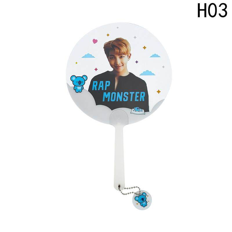 Linfang Populer Indah BTS Printing Fashion Portable Pemegang Tangan Fan H03-Intl