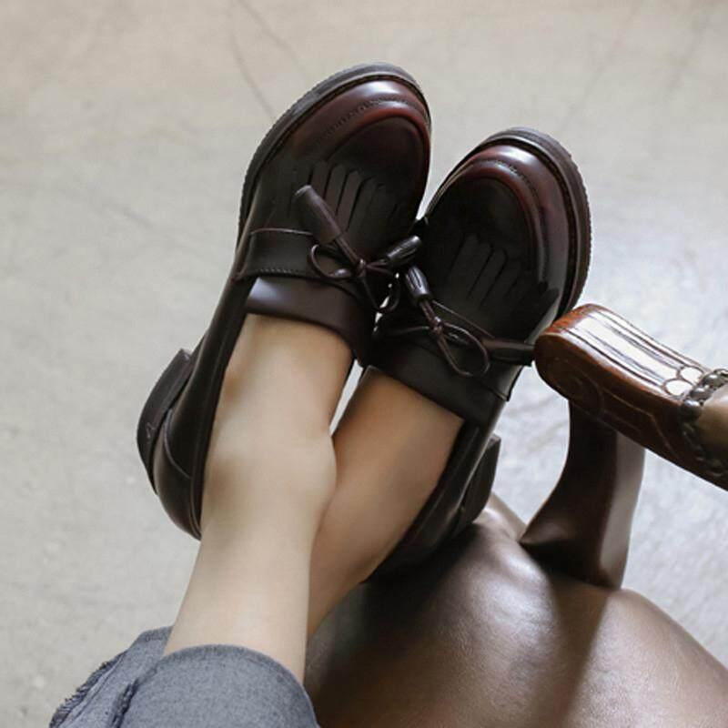 2018 Musim Semi College Angin Di Inggris Han Fan Ini Adalah Menghidupkan Kembali Kebiasaan Lama Yang Sepatu Kecil Wanita Tumit Medium Daftar sepatu Datar Bawah Rekreasi Joy Sepatu Santai Wanita 5 Dolar-Intl