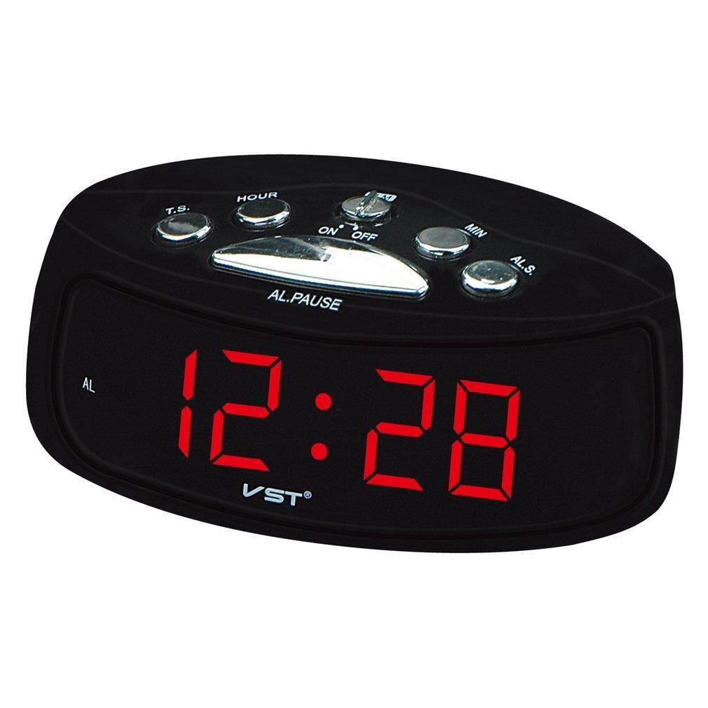 WARM 0.9 inci Display LED Alarm Digital Clock Desktop Digital elektronik meja jam Uni Eropa pasang