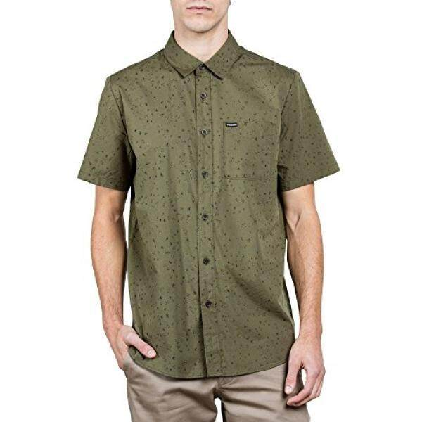 Volcom Young Men's Volcom Mens Smashed Start Button Up Short Sleeve Shirt Shirt, Military, S