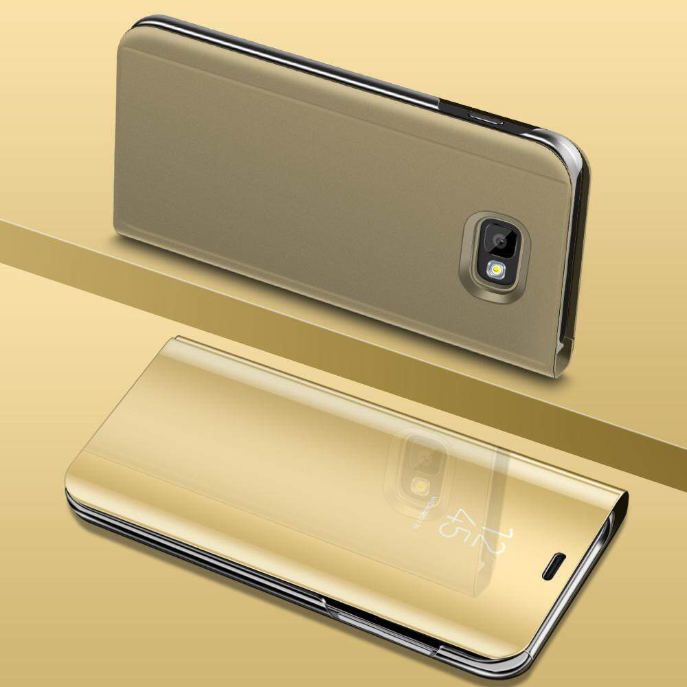 For Galaxy J7 Prime flip cover Luxury Plating Smart case Clear View Mirror .
